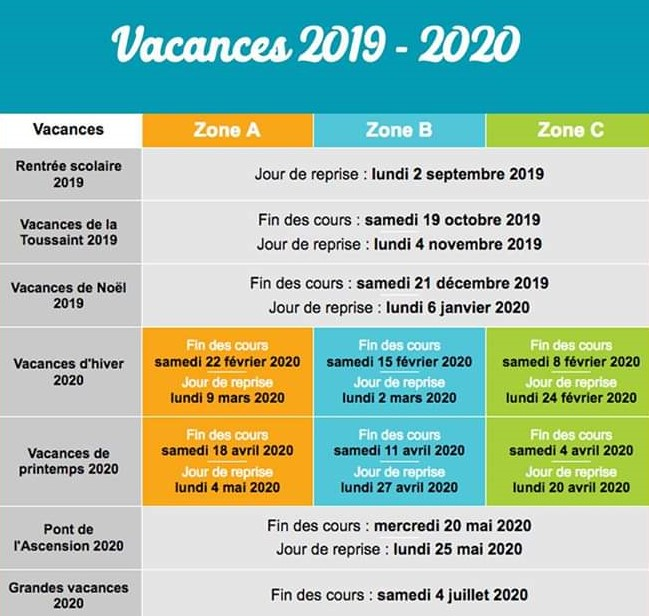 Calendrier Scolaire Mai 2020.Calendrier Des Vacances Scolaires De L Annee 2019 2020